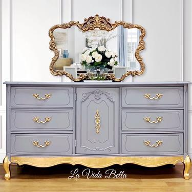 Fabulous French Provincial Console, Vintage, Gray, Gold Leaf, Buffet, Sideboard, Entryway Piece, Dresser. by LaVidaBellaDesign