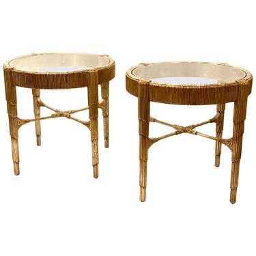 Pair of Elegant Contemporary Cocktail or End Tables in Silver leaf Finish