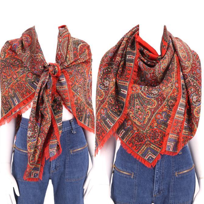 70s LIBERTY wool scarf shawl / vintage 1970s HUGE Liberty London paisley wool challis fringed wrap 50 x 50 by ritualvintage