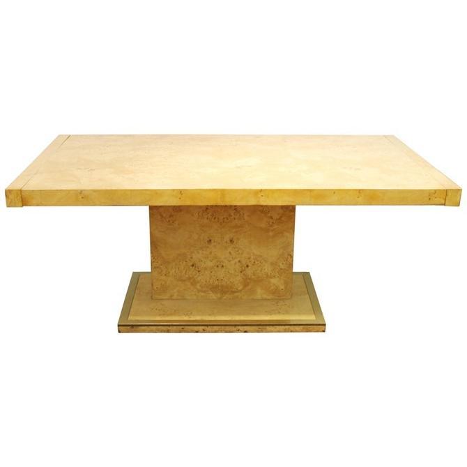 Milo Baughman Style Mid-Century Modern Dining Table in Burl Wood