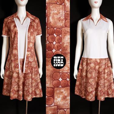 So Cool Vintage 70s Brown & White Op Art Print Dress Set by RETMOD