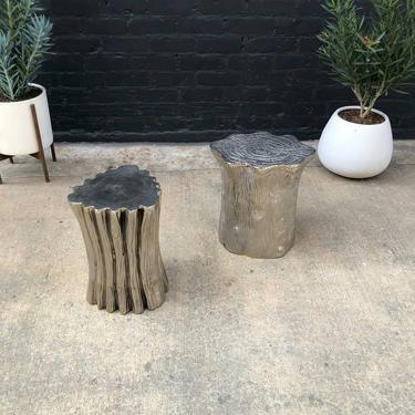 Aluminum Metal Tree Stump Side Tables by VintageSupplyLA