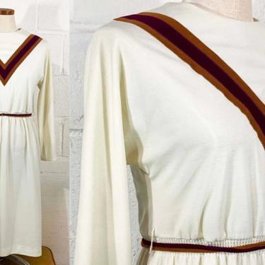 Vintage White Chevron Dress Burgundy Gold Midi Long Sleeve Geomtric Mod Boho Party Medium by CheckEngineVintage