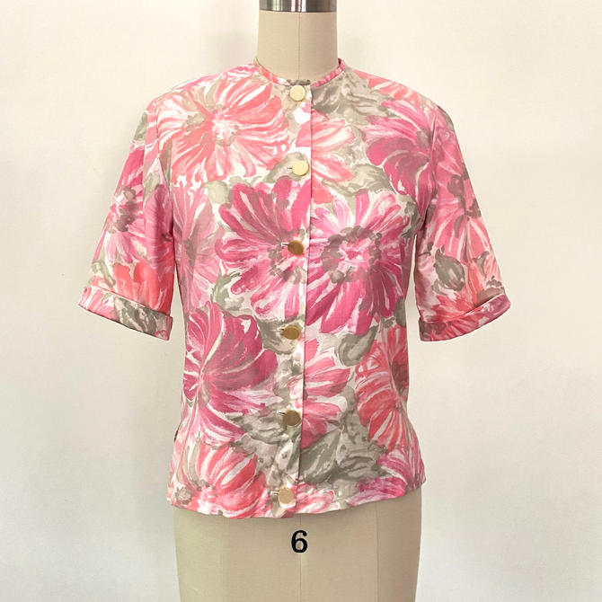 Vintage 1950s Blouse 50s Cotton Floral Shirt Top Size 6 by littlestarsvintage