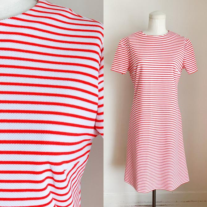 Vintage 1970s Red & White Striped Shift Dress / M by MsTips