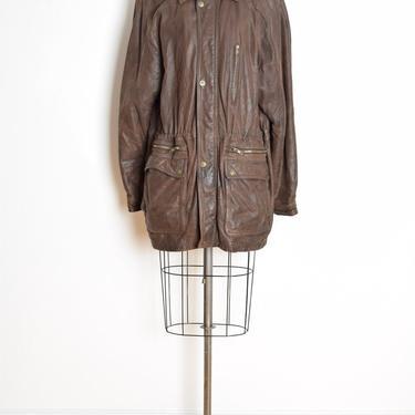 vintage 80s coat brown leather drawstring jacket XL Wilsons Adventurebound by huncamuncavintage