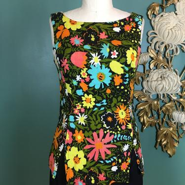 1960s tank top, sleeveless shirt, vintage top, mod floral, bright flower print, sportempos, small. retro, summer top, 32 34 bust, black by BlackLabelVintageWA
