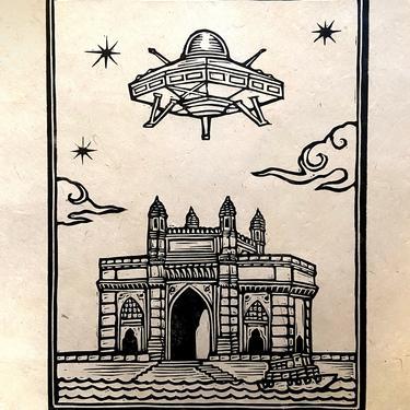 UFO Over Bombay Block Print by WoodcutEmporium