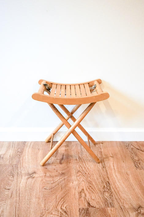 Vintage Solid Wood Curved Seat Folding Stool by PortlandRevibe