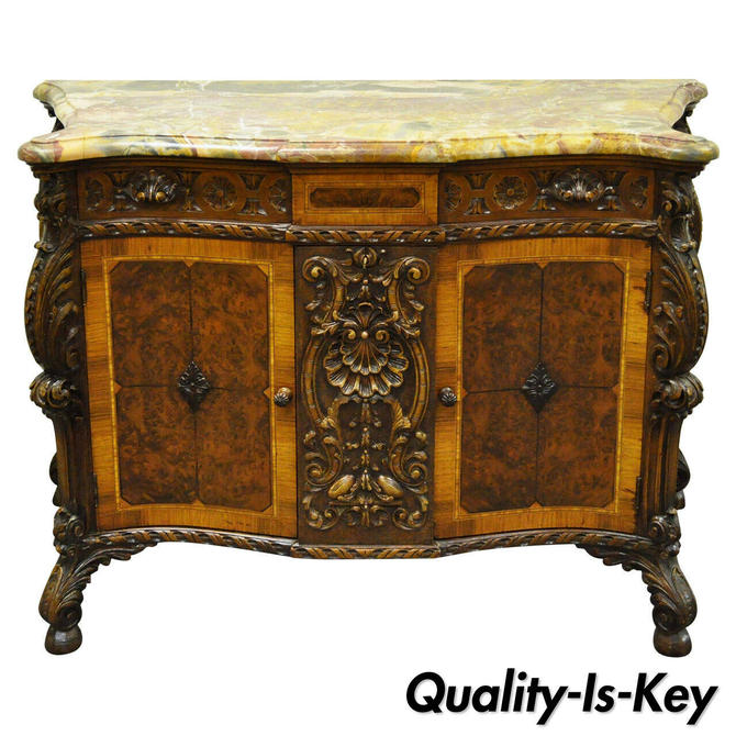 French Louis XV Baroque Style Carved Burr Walnut Rogue Marble Top Commode Server