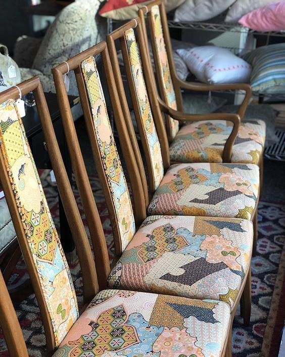 Awesome MCM dining chairs with groovy upholstery!