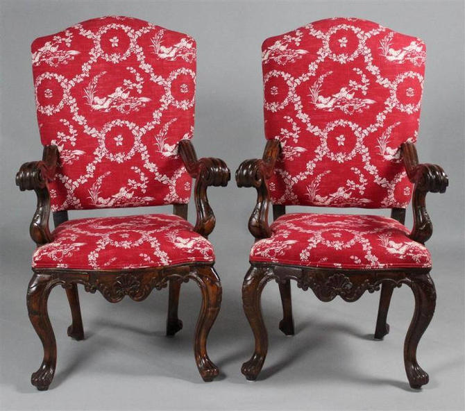 Pair French Regency style toile chairs, 1890s, Free Springfield VA pick up (Shipping extra, optional) by RustandRefind