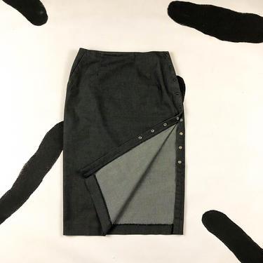 90s Adec 2 Philippe Adec Grey Snap Side Pencil Skirt / Midi Skirt / y2k / 00s / Minimal / Gray / Side Slit / Thigh Slit / Size 4 / Small / by badatpettingcats