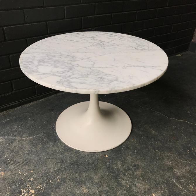 1960s Mid-Century Marble Tulip Table White Carrara Vintage Mushroom by BrainWashington