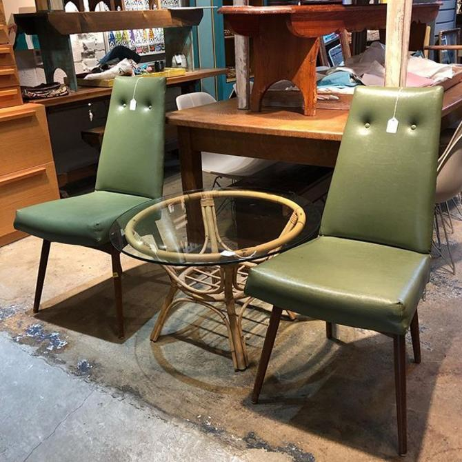 Green Vinyl MCM Chairs $30 each! Bamboo Table $55!