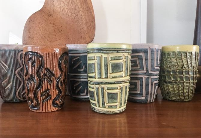 1940s Large Set Of Hal Lasky Puerto Rican Pottery Corp Tumblers