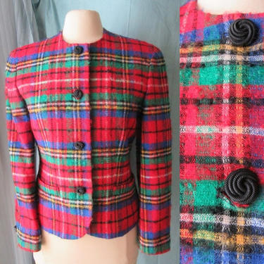 Pendleton Wool Jacket, Blazer, Fuzzy, Red Plaid, Big Buttons, Vintage 90s by GabAboutVintage