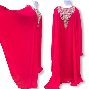 Vintage Red Plus Size Kaftan Dress with Gold Beading OS Sheer Full Length Loungewear Dress by TheUnapologeticSoul