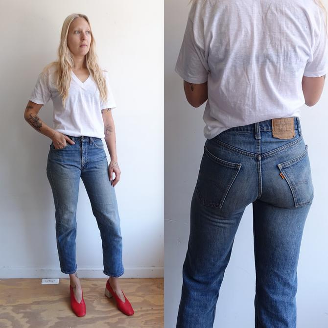 Vintage Levi 205 Denim/High Waisted Straight Leg Cropped Levis Jeans/ Size 30 29 by bottleofbread