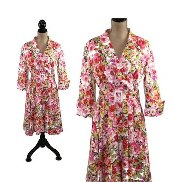 Y2K Pink Floral Cotton Full Skirt Dress Large, Spring Garden Party, Modest Midi with Sleeves, 2000s Clothes Women, Vintage Clothing Size 14 by MagpieandOtis