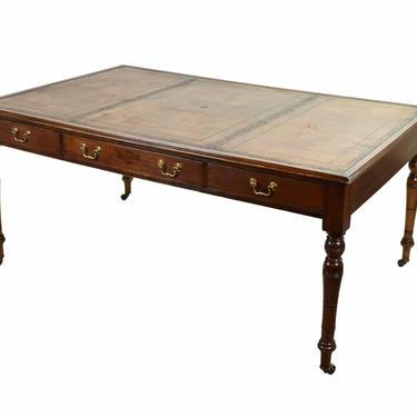 Antique English Regency Style  Partners Desk Leather Top by PrairielandArt