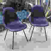 Pair of 1970's Eames DSX upholstered shell chairs