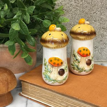 Vintage Salt and Pepper Shakers Retro 1970s Merry Mushrooms + Sears & Roebuck + Set of 2 Matching + Bohemian + Kitchen and Home Decor by RetrospectVintage215