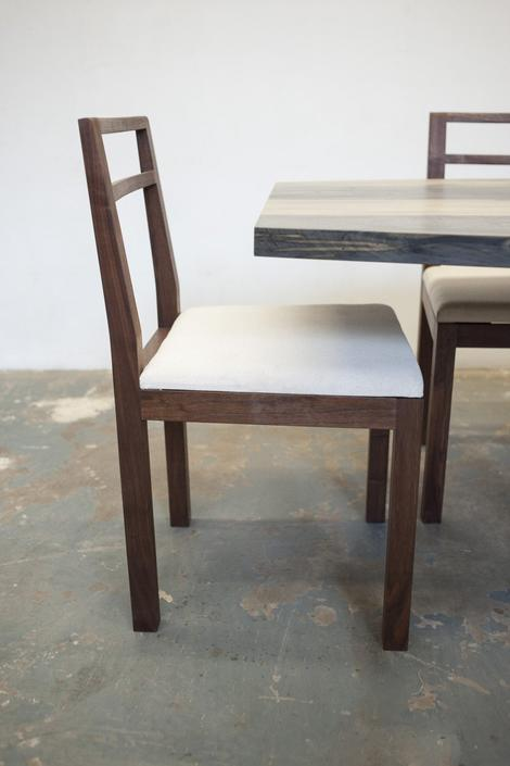Neese Dining Chair - Solid Walnut Canvas Upholstery by OlivrStudio