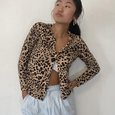 90s silk button front sweater / vintage cheetah cropped silk + cotton cardigan / animal print sweater | XS S by RecapVintageStudio
