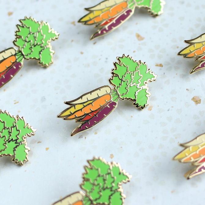 Rainbow Carrots Enamel Pin - Vegetable Colorful Produce// Lapel Pin // Hard Enamel Pin, Cloisonn, Pin Badge by shinyapplestudio