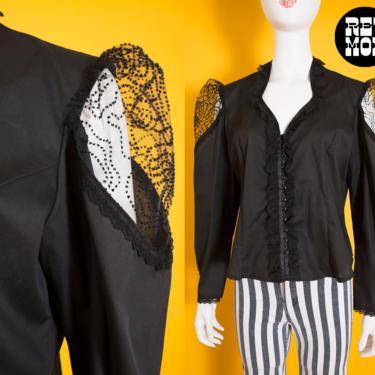 Unique Vintage 70s 80s Black Gothic Cotton Victorian Style Blouse Shirt with Peekaboo Lace Shoulders by RETMOD