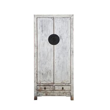 Oriental Distressed Rough Off White Slim Storage Cabinet cs6138E by GoldenLotusAntiques