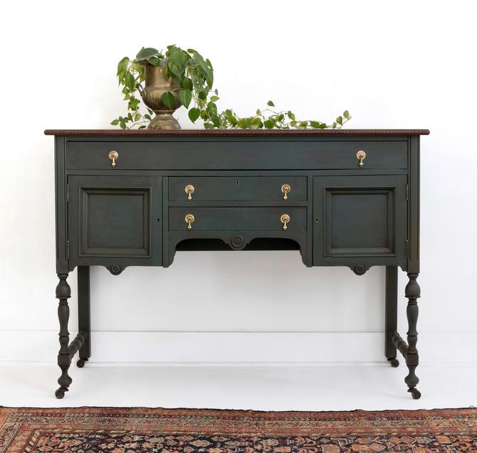 AVAILABLE Hand Painted Green Vintage Buffet Table, Traditional Antique Sideboard, Painted Credenza, Elegant Server for Dining Room, Kitchen by GreenSpruceDesigns