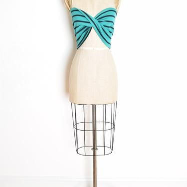 vintage 70s crop top teal striped disco roller girl twist tube top shirt XS S by huncamuncavintage