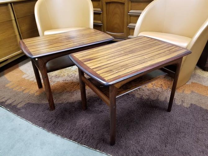 Pair of Danish Modern Brazilian rosewood side tables by Westnofa
