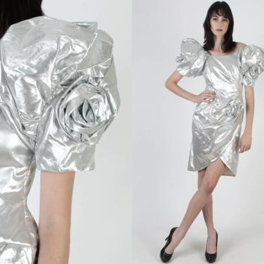 Vintage 80s Silver Metallic Dress / Avant Garde Cocktail Dress / Bold Puff Sleeve Rosette Tulip Skirt / Cocktail Prom Party Mini Dress by americanarchive