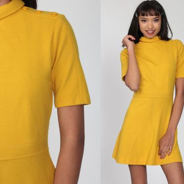 60s Mini Dress Yellow WOOL Dress Mod Flared A Line Dress High Waisted Vintage Sixties Mock Neck Dress Short Sleeve 1960s Retro Small by ShopExile