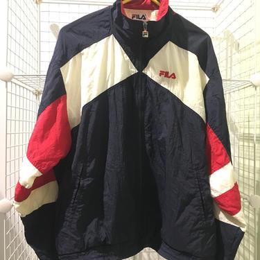 Vintage early 90's FILA Track Jacket Size L WINDBREAKER full zip American Flag 1990's Vtg Hip Hop Sportswear Pony Umbro Kappa Reebok Starter by AIDSActionCommittee