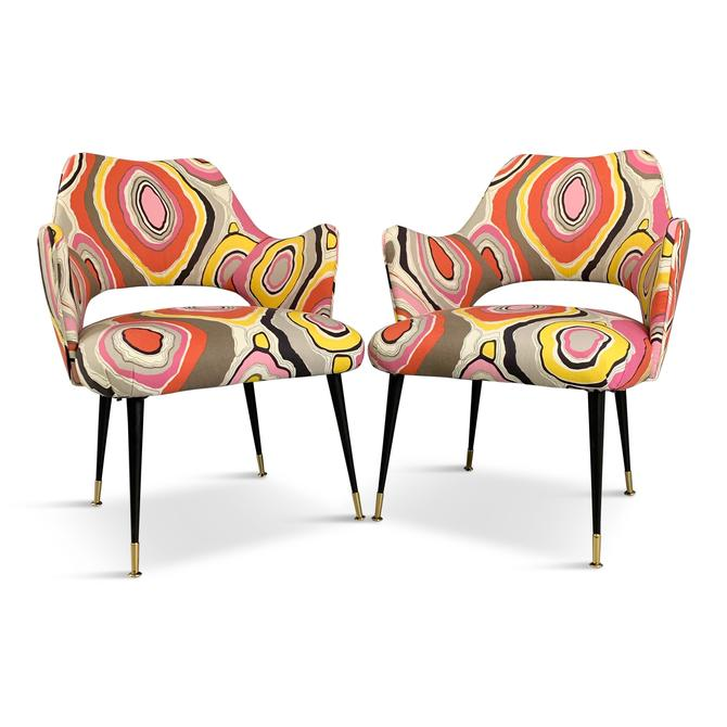 Mid-Century Italian Armchairs with Pucci Style fabric and Brass Feet a Pair