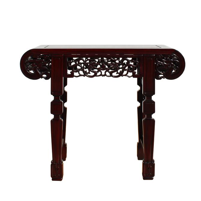 Chinese Red Brown Mahogany Stain Curved Apron Small Altar Table Stand cs5268S