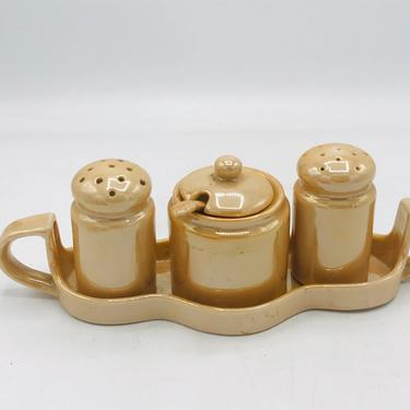Vintage Lusterware 6 PC Condiment Set -Jar with Spoon, Tray and Salt and Pepper -Peach  Made in Japan by JoAnntiques