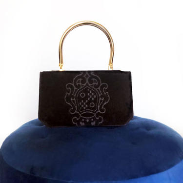 Black Velvet & Leather Purse Bag Clutch, Vintage Bag, 1960's Purse, Coat of Arms , 50's Chenille by Boutique369