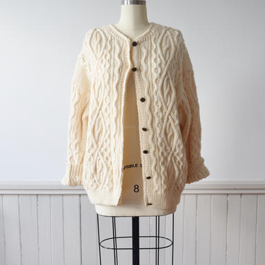 1980s Wool Cable Knit Cardigan | Vintage Fisherman's Sweater | Aran Style | M-L by wemcgee