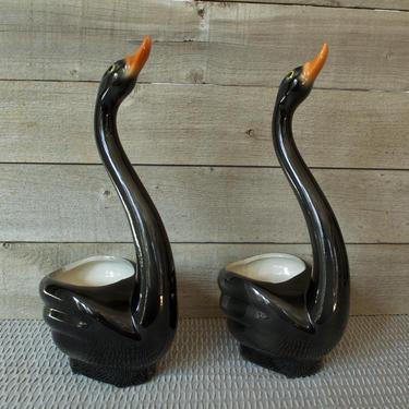 Mid Century Black Swan Planters, Set of 2, Goose, Duck, Planter, Flower Vase, Orange Bill, MCM Modern, Vintage, Retro, Home Decor Plant by TripodVintage