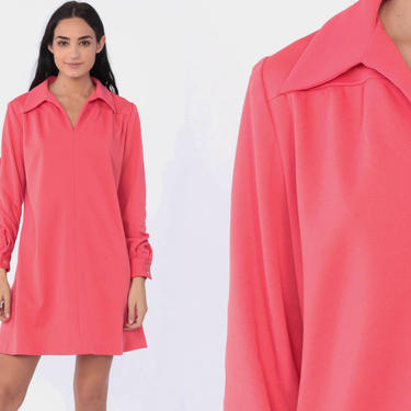 5b20493dc7a7 Pink Mini Dress 60s Shift Retro Space Age 70s Vintage Hipster Gogo  Polyester Twiggy 70s Long