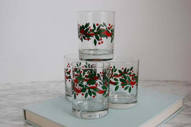 Vintage Lowball Glasses - Christmas Holly Glasses - Vintage Glassware by PursuingVintage1