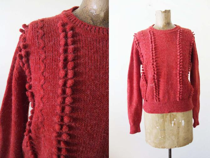 Vintage 80s Pom Pom Knit Sweater XS S - 1980s Cranberry Red Womens Long Sleeve Pullover - Holiday Red Sweater by MILKTEETHS