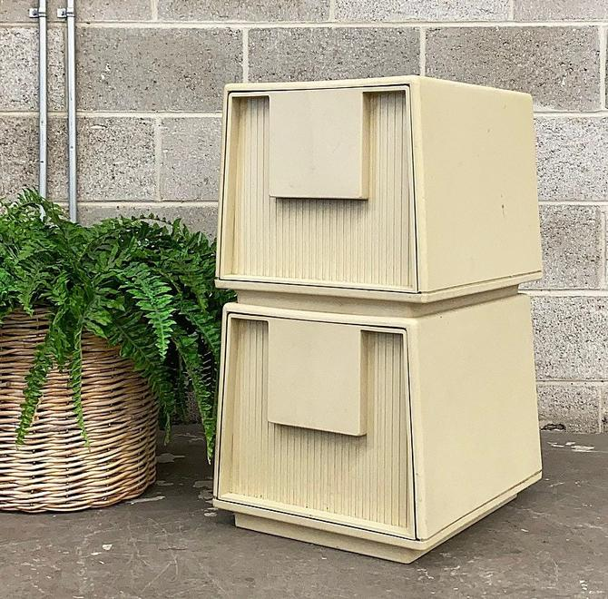 Vintage Filing Cabinets Retro 1960s Mid Century Modern + Staco Tuf-File + Set of 2 + Hard Plastic + Mod Style + Home Office + Paper Storage by RetrospectVintage215