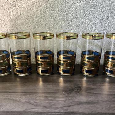 Vintage Culver Empress Tumbler Glasses Gold ,Green, Blue Set of 6 by PKFlamingoVintage
