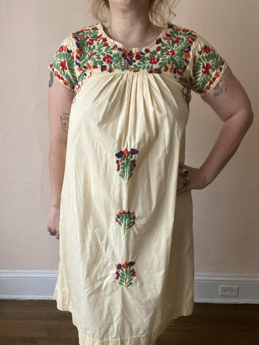 60s 70s Embroidered Mexican Dress Muumuu Size S / M by NoSurrenderVintage